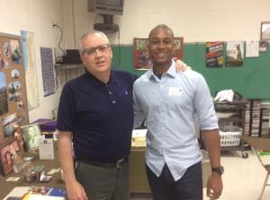 Captain Brandon Taylor '03 visits with Mr. Breen and speaks to Freshmen Theology classes.